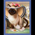 """Набор для картины стразами """"Чаепитие у кошки"""" """"Алмазная живопись"""""""