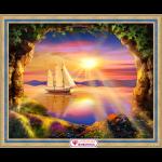 """Набор для картины стразами """"Корабль на закате"""" """"Алмазная живопись"""""""