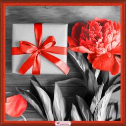 """Набор для картины стразами """"Подарок с пионом"""" """"Алмазная живопись"""""""