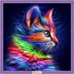 """Набор для картины стразами """"Разноцветный котёнок"""" """"Алмазная живопись"""""""