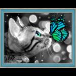 """Набор для картины стразами """"Бенгал и бабочка"""" """"Алмазная живопись"""""""