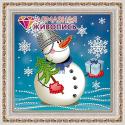"""Набор для картины стразами """"Снеговик с подарком"""" """"Алмазная живопись"""""""