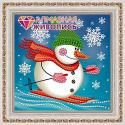 """Набор для картины стразами """"Снеговик лыжник"""" """"Алмазная живопись"""""""