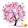 """Набор для картины стразами """"Дерево в розовых цветах"""" """"Алмазная живопись"""""""