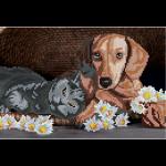 """Набор для картины стразами """"Собака и кот"""" """"Фрея"""""""