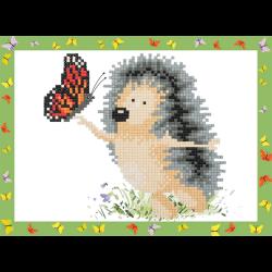 """Набор для картины стразами на картоне с рамкой """"Ёжик с бабочкой"""" """"Фрея"""""""