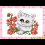 """Набор для картины стразами на картоне с рамкой """"Котёнок с цветочком"""" """"Фрея"""""""