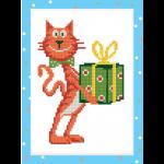 """Набор для картины стразами на картоне с рамкой """"Кот с подарком"""" """"Фрея"""""""
