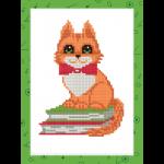 "Набор для картины стразами на картоне с рамкой ""Котик на книжках"" ""Фрея"""