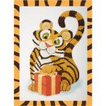 """Набор для картины стразами на картоне с рамкой """"Тигрёнок с подарком"""" """"Фрея"""""""