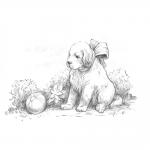 """Набор для раскрашивания чернографитными карандашами """"Крошка щенок"""" """"Фрея"""""""