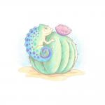 "Набор для раскрашивания цветными карандашами ""Хамелеон на цветущем кактусе"" ""Фрея"""