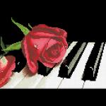"Набор для картины стразами ""Роза на рояле"" ""Паутинка"""