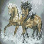 """Набор для картины стразами """"Пара лошадей"""" """"Паутинка"""""""