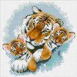 """Набор для картины стразами """"Тигриная семейка"""" """"Паутинка"""""""