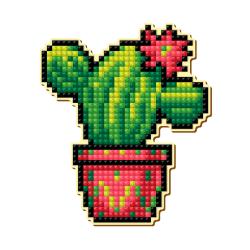 """Набор для картины стразами Магнит """"Цветущий кактус """"Pixel Boom"""""""